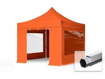 3x3 m Tente pliante - Alu, PES 400g/m², côté panoramique, orange