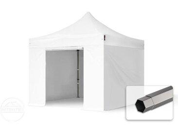 3x3 m Tente pliante - Acier, PVC 520g/m², anti-feu, côtés sans fenêtre, blanc