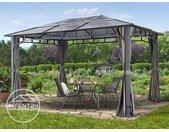Tonnelle de jardin 3x4 m Sunset Deluxe, toit rigide, gris