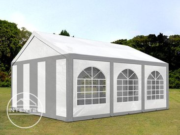4x6 m tente de réception, PE 240 g/m², H. 2m, gris-blanc