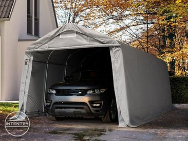 3,3x6m garage, abri, PVC 550 g/m², H. 2,1m, gris