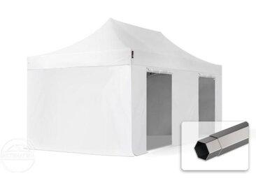 3x6 m Tente pliante - Acier, PVC 520g/m², anti-feu, côtés sans fenêtre, blanc