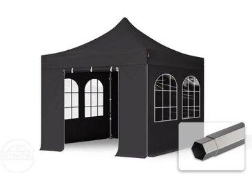 3x3 m Tente pliante - Acier, PVC 520g/m², anti-feu, côtés avec fenêtres, noir