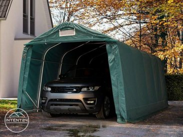 3,3x6m garage, abri, PVC 550 g/m², H. 2,1m, vert foncé