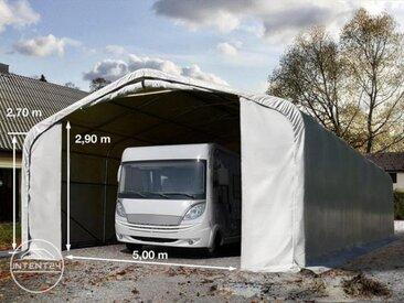 7x21m tente-garage de stockage, porte 5,0x2,9m, toile PVC de 550, gris