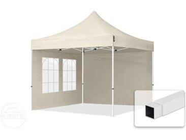 3x3 m Tente pliante - Acier, PES 300g/m², côtés avec fenêtres, crème