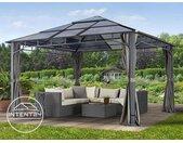 Tonnelle de jardin 4x4 m Sunset Deluxe, toit rigide, gris