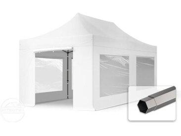 3x6 m Tente pliante - Acier, PVC 520g/m², anti-feu, côtés panoramiques, blanc