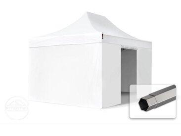 3x4,5 m Tente pliante - Acier, PVC 520g/m², anti-feu, côtés sans fenêtre, blanc