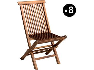 Lot de 8 chaises de jardin en teck huilé Lombok