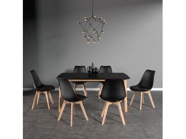 Ensemble table extensible et chaises scandinave Nora