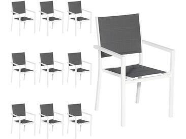 Chaises rembourrées en aluminium, lot de 10
