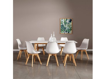 Ensemble table extensible et chaises scandinave Nora