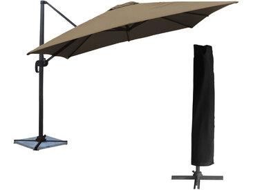 Parasol déporté carré Molokai 3x3m + housse