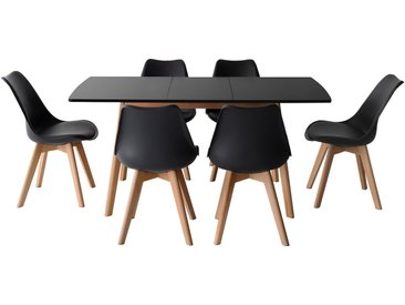 Ensemble table extensible Helga et 6 chaises Nora
