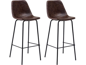 Lot de 2 tabourets de bar Lucien - assise 75cm de haut