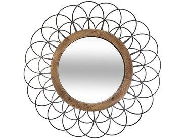 Miroir Fleur en métal & bois D90