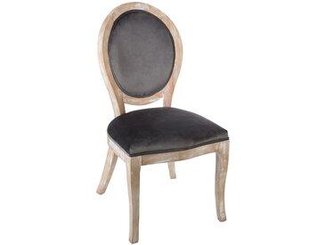 """Chaise Grise """"Cléon"""" en velours & bois naturel"""