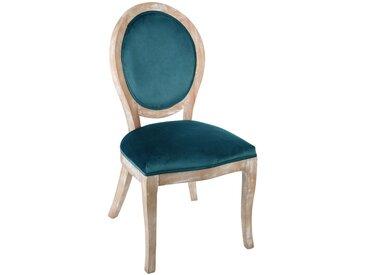 """Chaise """"Cléon"""" bleue en velours & bois"""