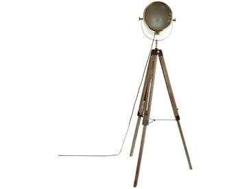"""Lampadaire """"Ebor"""" Bronze à trépied en métal & bois H152"""