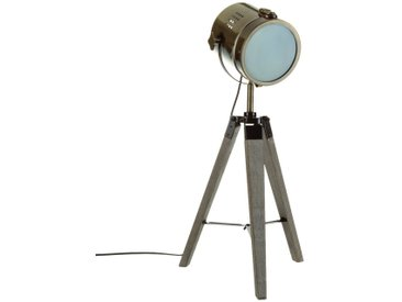 """Lampe """"Ebor"""" Bronze à trépied en métal & bois H68"""