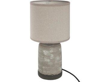 Lampe cylindre base en béton grise striée H34