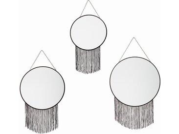 Lot de 3 miroirs ronds à franges & chaînes en fer