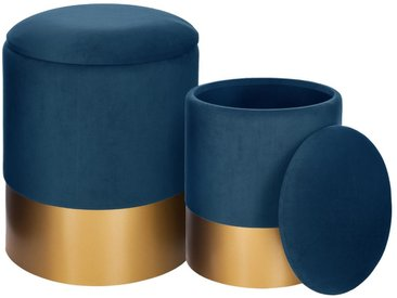 Lot de 2 poufs coffre Bleu