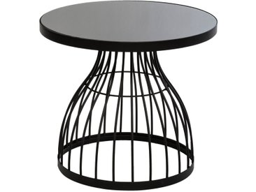 """Table d'appoint Noire """"Kushi"""" en verre D55"""