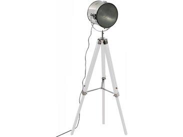 """Lampadaire """"Ebor"""" en métal & bois Blanc H152"""