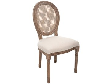 "Chaise Blanche ""Cléon"" cannage en lin"