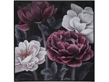 Toile peinte cadre Fleur Noire 58x58