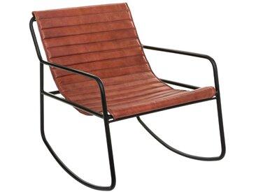 Rocking chair Marron en cuir