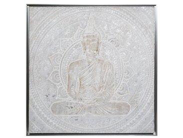 Toile peinte argentée encadrée Bouddha 78x78