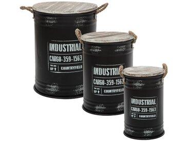 "Lot de 3 coffres Bidons Noirs ""Industriel"" en métal"