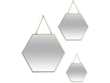 Lot de 3 miroirs hexagonal doré en métal