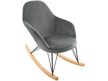 """Rocking chair Gris """"Ewan"""" en velours"""