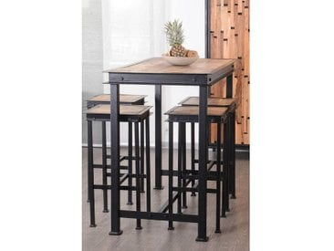 Meuble House Pack Table haute + 4 tabourets métal et bois 120x70cm