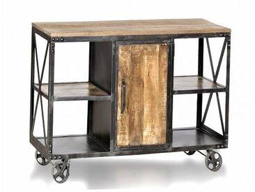Meuble House Îlot central industriel métal et bois 150 cm