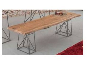 Banc bois massif et pieds métal gris  Zen