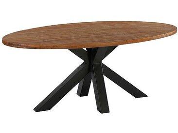 Meuble House Table ovale en teck massif naturel  pied métal en 190 cm