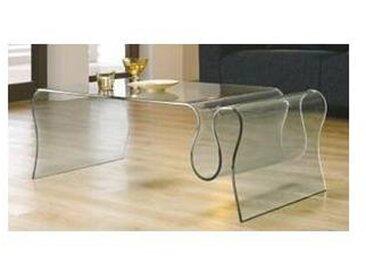 Table basse porte revues verre  Cléo