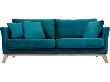 Canapé scandinave 3 places déhoussable velours bleu pétrole OSLO