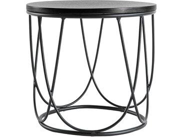 Table d'appoint bois noir et métal L42 x H40 cm LACE