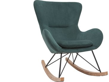 Rocking chair design velours côtelé vert ESKUA
