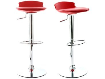 Lot de 2 tabourets de bar design rouge NOVA