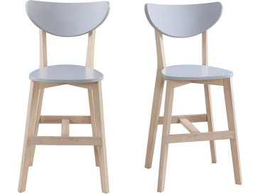 Tabourets de bar scandinaves gris et bois H65 cm (lot de 2) LEENA