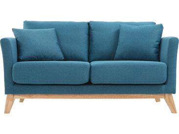Canapé scandinave 2 places déhoussable bleu canard et bois OSLO