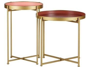 Tables d'appoint gigognes doré et rose (lot de 2) PINKS