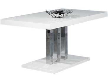 Table à manger design blanc laqué L160 cm ORIANE